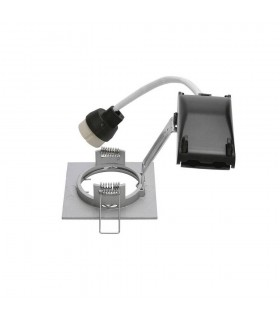 1 Light Indoor Recessed Ceiling Downlight, Silver-Grey, Fixed