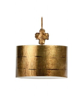1 Light Round Large Ceiling Pendant Aged Gold