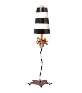 1 Light Table Lamp Gold Leaf with Black, Taupe Stripes