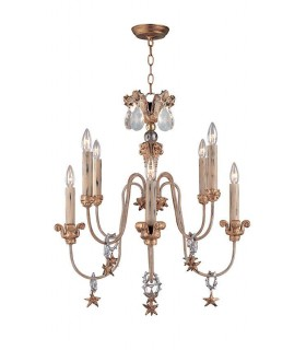 8 Light Chandelier Gold And Silver Finish, E14