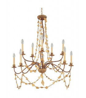 10 Light Chandelier Gold Finish