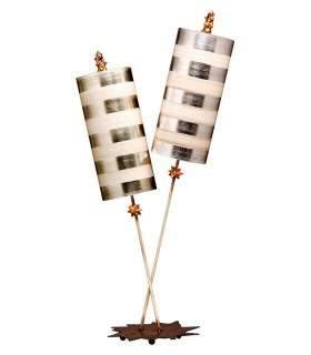 2 Light Table Lamp Cream, Silver Leaf
