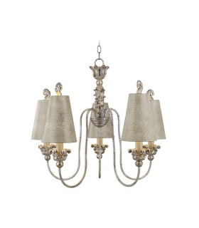 5 Light Multi Arm Chandelier Gold And Silver Finish, E27