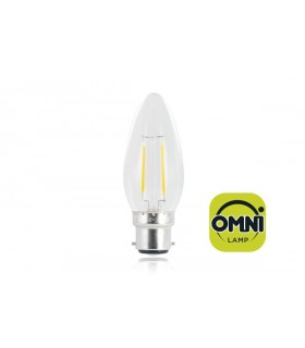 10 PACK - LED Candle Full Glass Omni-Bulb 2W 2700K (Warm) 250lm B22 Non-Dimmable