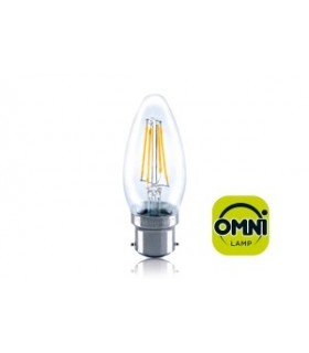 10 PACK - LED Candle Full Glass Omni-Bulb 4W 2700K (Warm) 420lm B22 Non-Dimmable