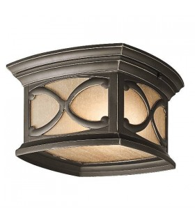 2 Light Flush Mount Outdoor Ceiling Light Olde Bronze IP44