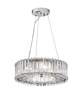 6 Light Ceiling Pendant Chrome with Crystals