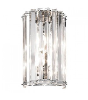 2 Light Indoor Wall Light Chrome, Crystal, G9