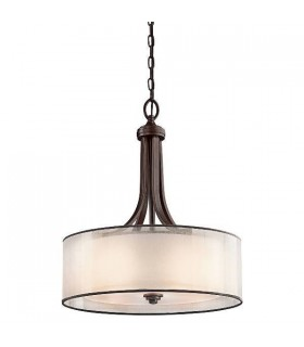 4 Light Large Round Ceiling Pendant Mission Bronze, E27