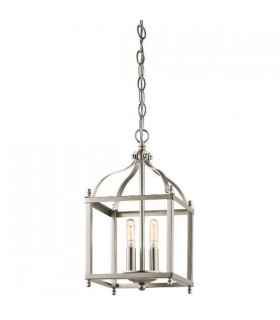 2 Light Small Ceiling Pendant Brushed Nickel, E14