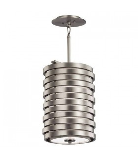 1 Light Ceiling Round Pendant Brushed Nickel, E27
