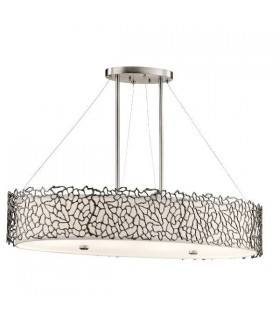 4 Light Oval Ceiling Island Pendant Bar Pewter, Silver Coral, E27