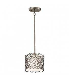 1 Light Ceiling Mini Pendant Classic Pewter, Silver Coral