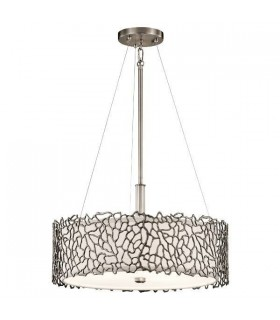 3 Light Ceiling Duo-Mount Pendant Classic Pewter, Silver Coral, E27