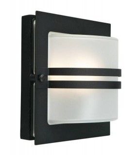 1 Light Outdoor Frosted Wall Light Black IP65, E27