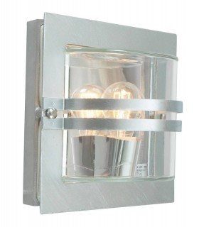 1 Light Outdoor Frosted Wall Light Galvanised IP65, E27