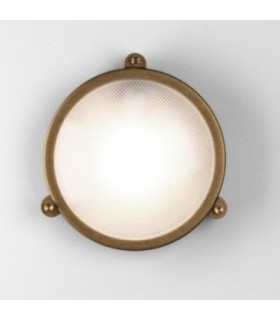 1 Light Outdoor Bulkhead Wall Light Antique Brass IP65, E27