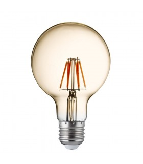5 PACK Dimmable Led Filament Globe (95mm) Amber Glass, E27 6W, 600Lm 2700K