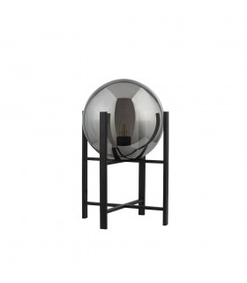 1 Light Matt Black Table Lamp Round Smokey Glass Shade