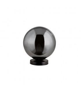 1 Light Small Matt Black Base with Smokey Round Glass Shade