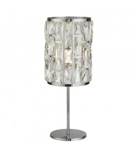 1 Light Chrome Table Lamp with Crystal Glass