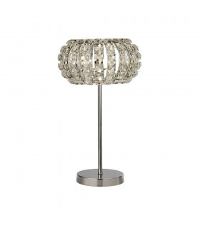 1 Light Chrome Table Lamp with Crystal Glass, Crystal Sand Diffuser