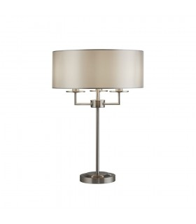 Table Lamp 3 Light Satin Silver with Silver Faux Silk Shade