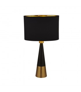 Pyramid Table Lamp Black, Antique Copper, Black Oval Shade Gold Inner