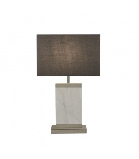 Table Lamp Satin Nickel, White Marble with Grey Drum Shade