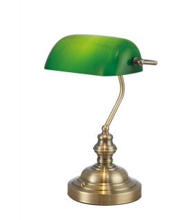 Bankers Table Lamp 1 Light E27 Antique Brass, Green Glass