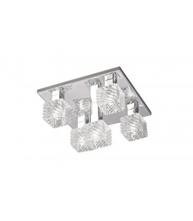 Ceiling Flush 5 Light G9, 230mm Square, Polished Chrome, Clear Glass