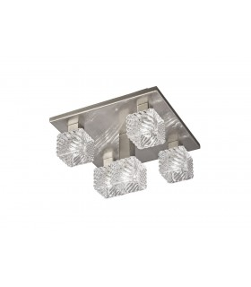Ceiling Flush 5 Light G9, 230mm Square, Satin Nickel, Clear Glass