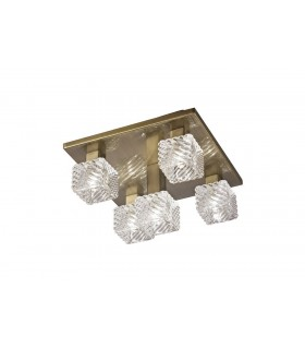 Ceiling Flush 5 Light G9, 230mm Square, Antique Brass, Clear Glass