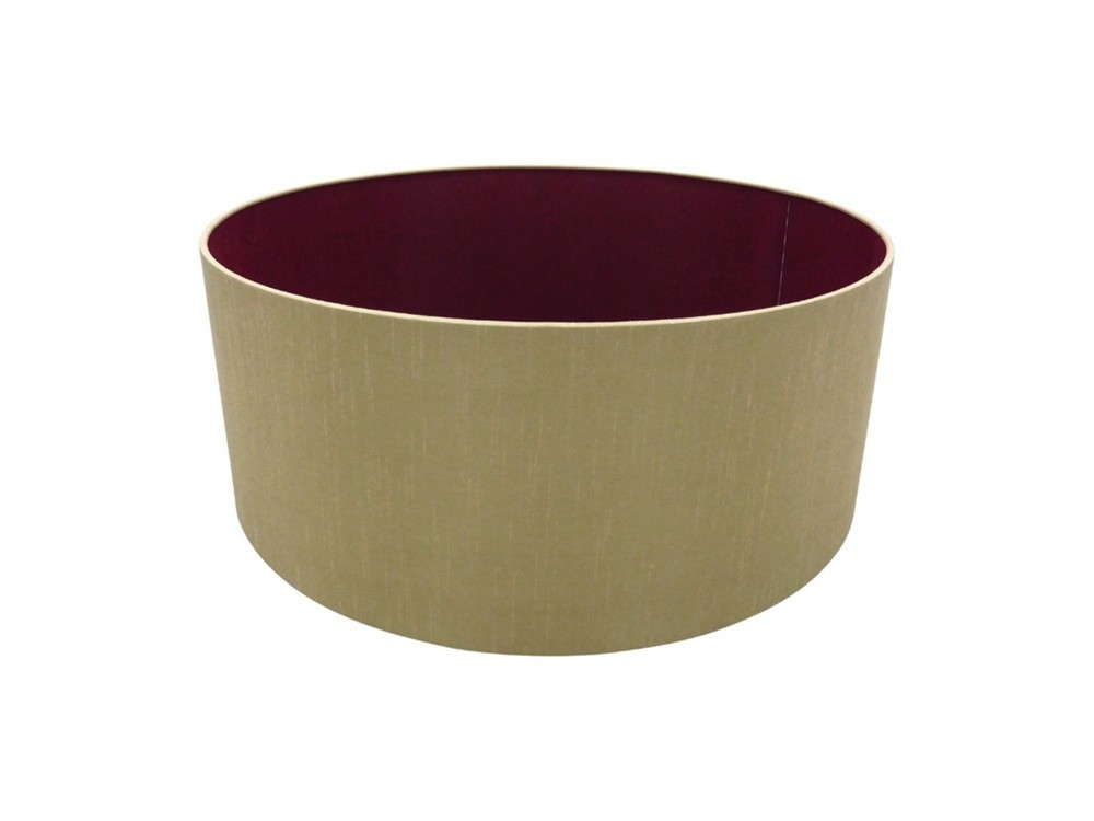 Round Cylinder, 500 x 200mm Dual Faux Silk Fabric Shade, Antique Gold, Ruby