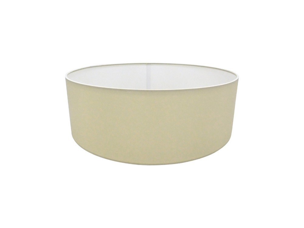 Round Cylinder, 450 x 150mm Faux Silk Fabric Shade, Ivory Pearl, White Laminate