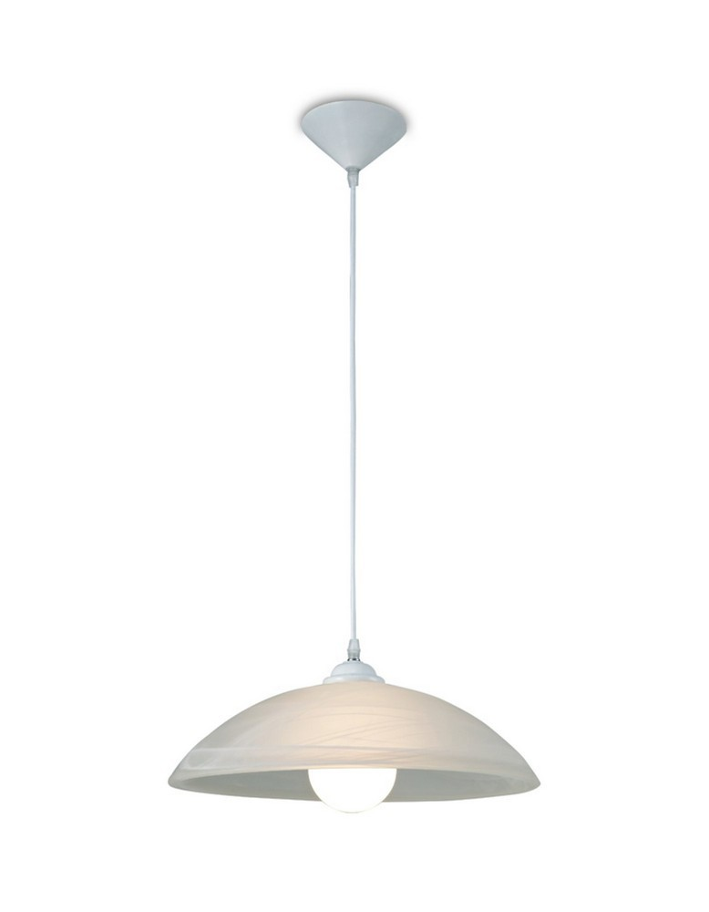 E27 Ceiling Dome Pendant, Frosted Alabaster Glass with White Suspension Kit