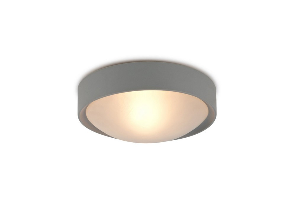 IP44 1 Light E27 Flush Ceiling Light, Satin Nickel Frame with Frosted Glass
