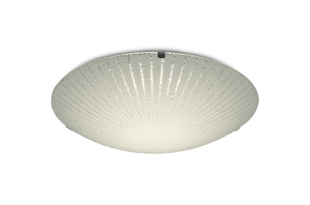 12W LED Small Flush Ceiling Light, 300mm Round, 4000K 950lm CRI80, Sunray Pattern Glass with Polishe