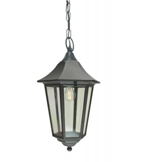 1 Light Outdoor Ceiling Chain Lantern Black IP54