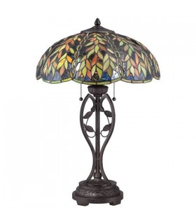 2 Light Tiffany Table Lamp Imperial Bronze, E27