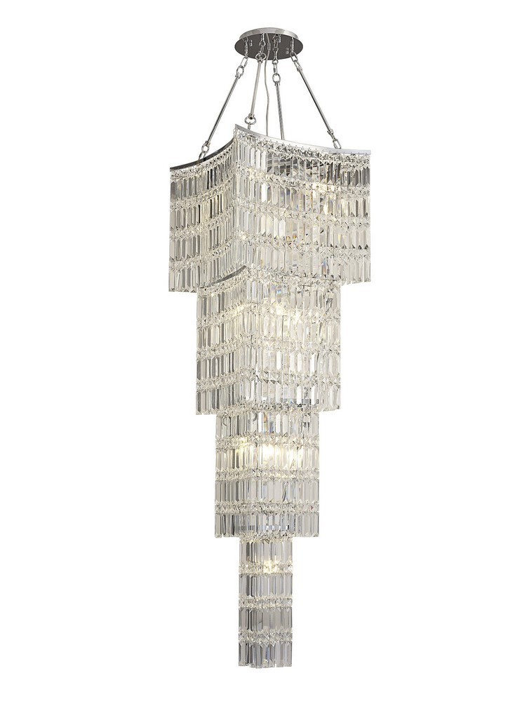 Tall Ceiling Pendant Chandelier 11 Light Polished Chrome, Crystal