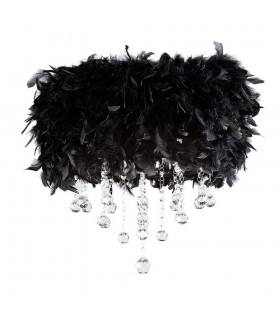 Flush Ceiling with Black Feather Shade 3 Light Polished Chrome, Crystal