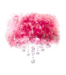 Flush Ceiling with Pink Feather Shade 3 Light Polished Chrome, Crystal