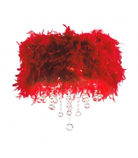Flush Ceiling with Red Feather Shade 3 Light Polished Chrome, Crystal