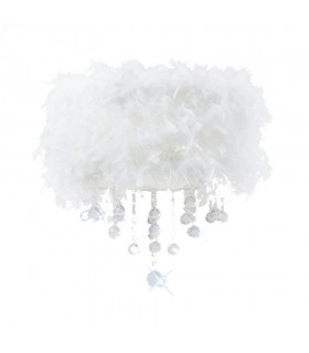 Flush Ceiling with White Feather Shade 3 Light Polished Chrome, Crystal