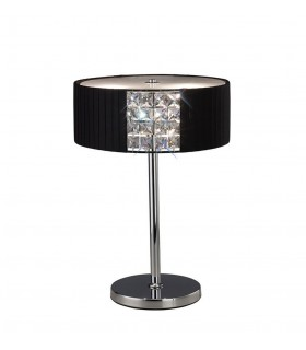 Table Lamp Round with Black Shade 2 Light Polished Chrome, Crystal