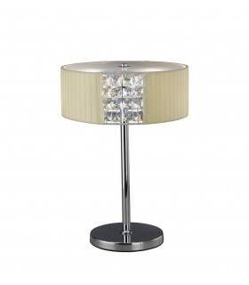 Table Lamp Round with Cream Shade 2 Light Polished Chrome, Crystal