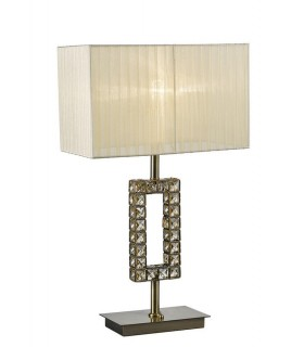 Rectangle Table Lamp with Cream Shade 1 Light Antique Brass, Crystal