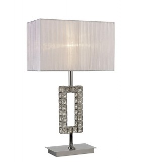 Rectangle Table Lamp with White Shade 1 Light Polished Chrome, Crystal