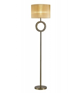 Round Floor Lamp with Soft Bronze Shade 1 Light Antique Brass, Crystal